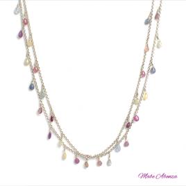 Collar de zafiros multicolores