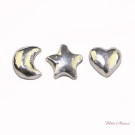 Luna, estrella y corazón de plata