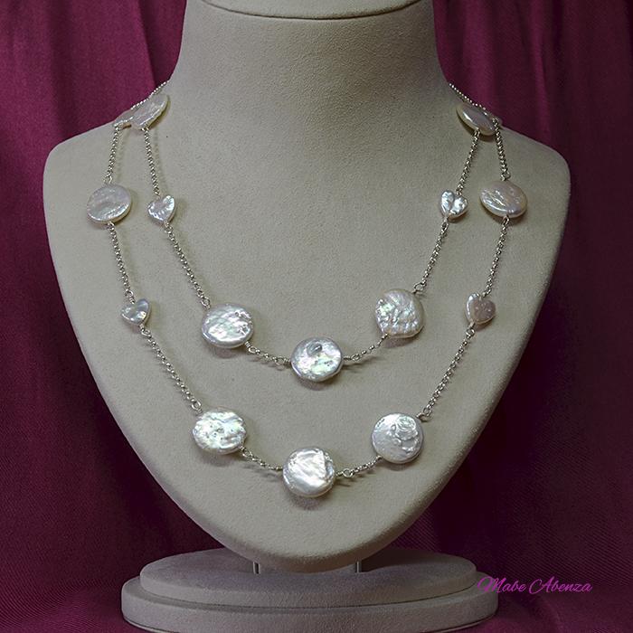 Collar de perlas barrocas planas 2