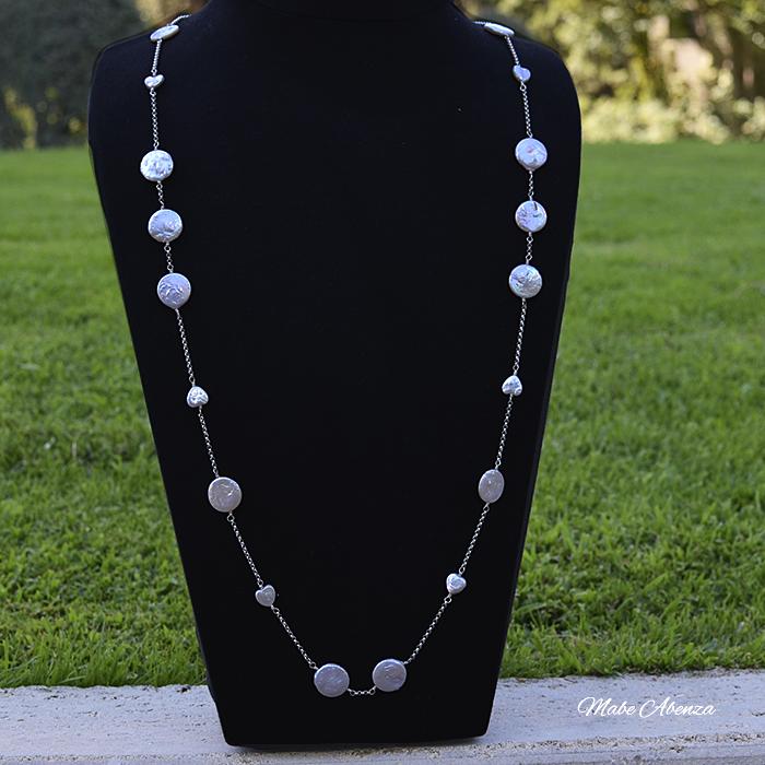 Collar de perlas barrocas planas 700
