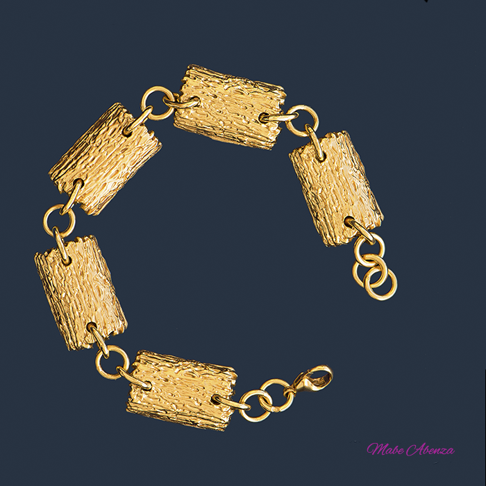 Pulsera leño plata en oro 700
